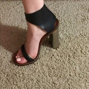 Celine (Paris) metal heel sandals.